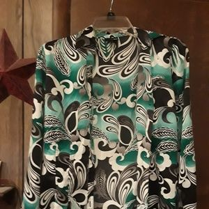 Green Floral Silk Blouse size Small